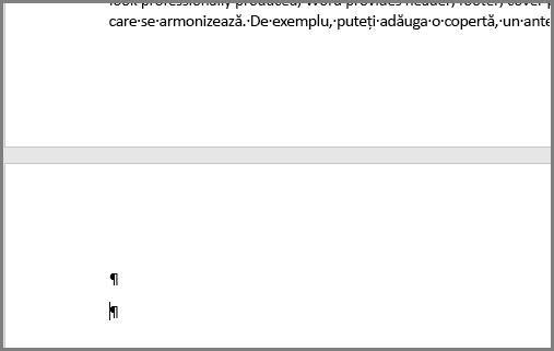 Paragrafe goale în partea de sus a unei pagini în Word