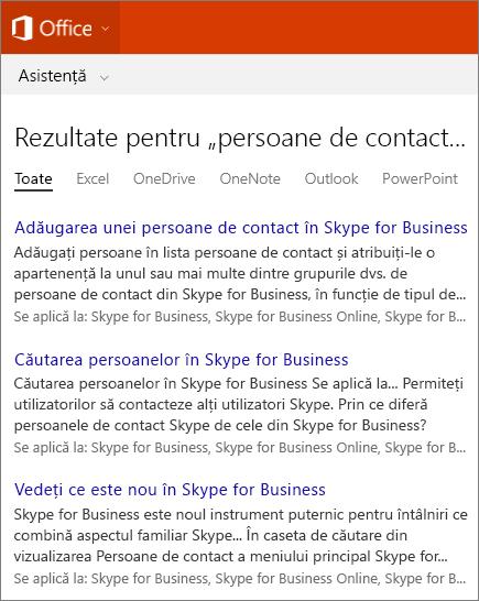 Captură de ecran a rezultatelor unei căutări de persoane de contact Skype for Business pe site-ul Asistență Office.