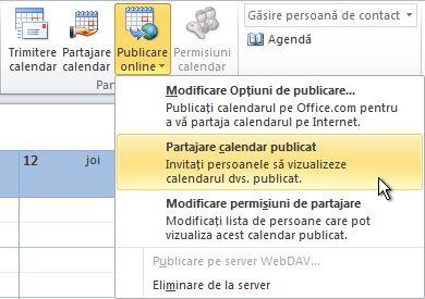 Partajați calendarul publicat comanda din panglică