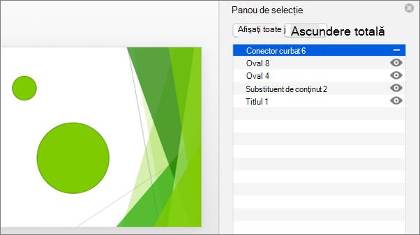 Afișează funcționalitatea Ascundere în Office 2016 pentru panoul de selecție Mac