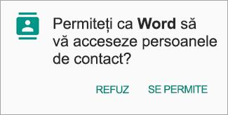 Atingeți Se permite pentru a acorda acces la Persoane de contact