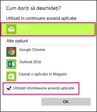 Alegeți aplicația de e-mail pe care doriți să o utilizați