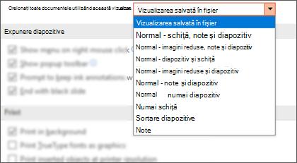 Deschiderea tuturor documentelor utilizând această listă Vizualizare extinsă, astfel încât clientul să poată selecta o vizualizare implicită.