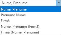 Opțiuni Outlook pentru persoane, afișând Clasare ca ordine listă de opțiuni.