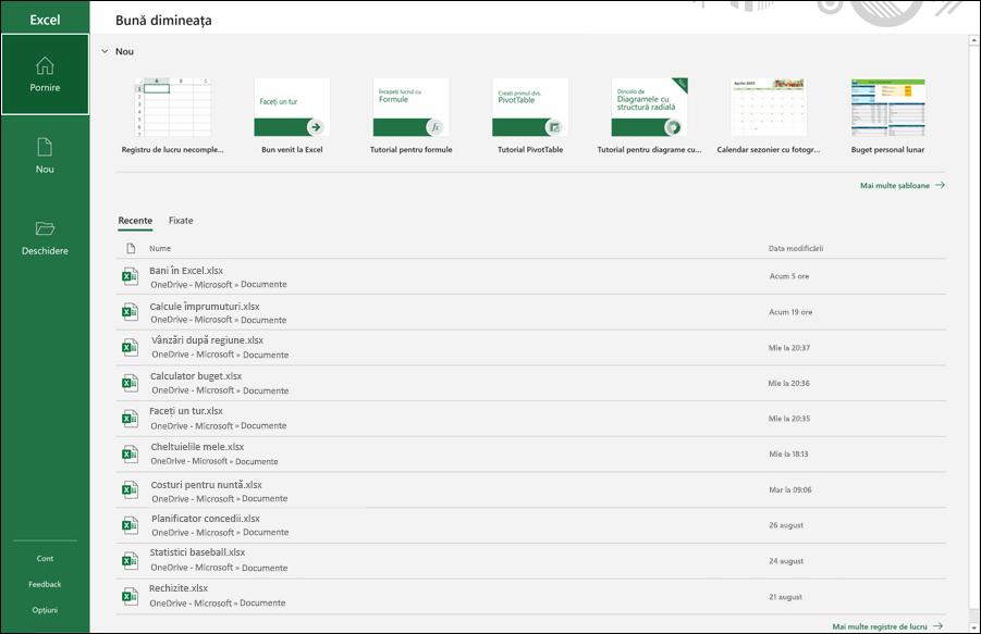 Excel start 2021 cu o listă de registre de lucru deschise recent afișate