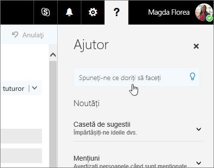 Captură de ecran a panoului Ajutor din Outlook pe Web, afișând caseta Spune-mi.