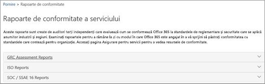 Afișează pagina Asigurare pentru servicii: Rapoarte de conformitate a serviciului.
