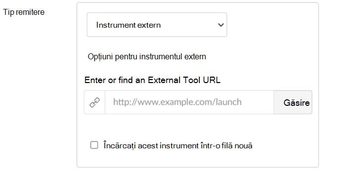 Lista verticală tip remitere cu Instrumentul extern evidențiat