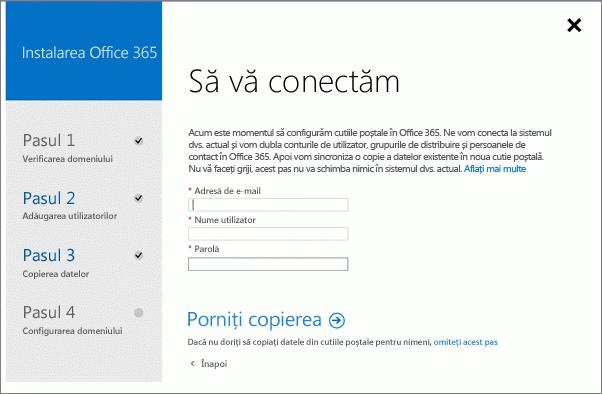 Introduceți informațiile de cont pentru a vă conecta la Exchange Server.
