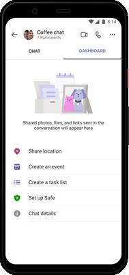 Teams Ilustrație cu tabloul de bord Android
