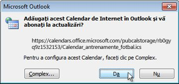 Toate calendarele Internet de adăugat în caseta de dialog Outlook