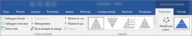 Filele instrumente SmartArt, proiectare și formatare