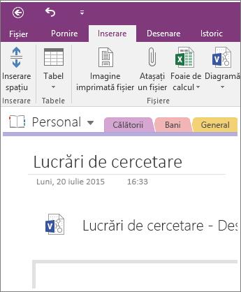 Captură de ecran cu inserarea unei noi diagrame Visio în OneNote 2016.