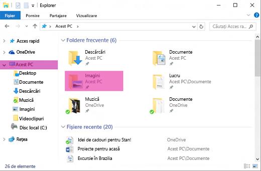 Fereastra Windows Explorer la nivel înalt, cu folderul Imagini evidențiat