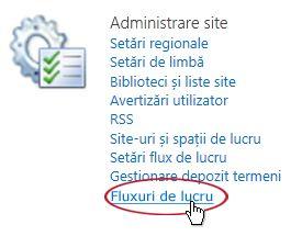 Linkul Fluxuri de lucru sub titlul Administrare site