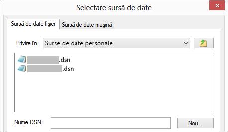 Caseta de dialog Selectare sursă de date