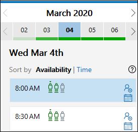 Opțiuni de întâlnire selectate