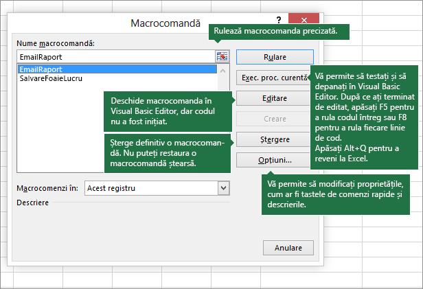 Casetă de dialog Macrocomandă