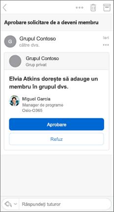 Mesaj de e-mail cu butoanele aprobare și refuzare