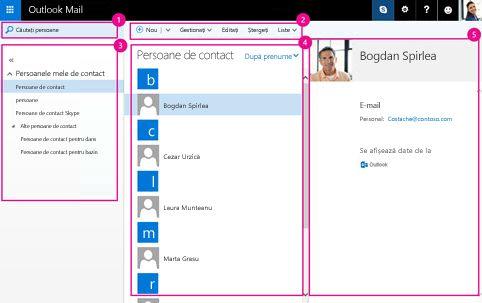 Utilizați folderul Persoane pentru a gestiona persoanele de contact.