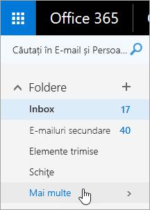 Captură de ecran a cursorului menținut peste butonul Mai multe în panoul de navigare din Outlook pe web.