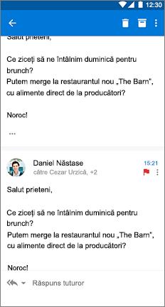 Mesaj de e-mail cu 3 puncte stivuite vertical în dreapta