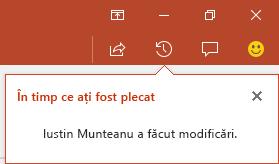 PowerPoint pentru Office 365 vă arată cine a făcut modificări într-un fișier partajat cât timp ați lipsit
