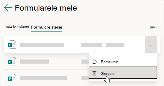 Ștergerea unui formular pe fila formulare șterse din Microsoft Forms.
