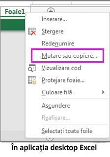 Opțiunea de copiere foaie disponibilă în aplicația desktop Excel