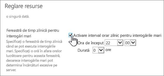 Pagina de setări a aplicației Administrare centrală cu Fereastra de timp zilnică evidențiată