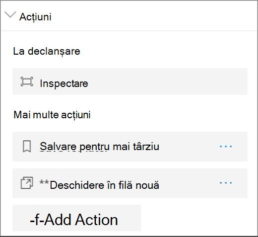 Opțiuni de acțiune pentru Vizualizatorul de fișiere