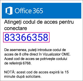 Vizualizator OME cod de acces la E-mail