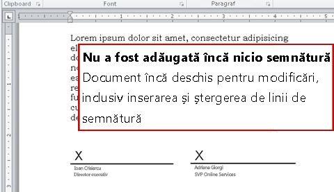 Document fără prima semnătură, deci încă deschis pentru modificări