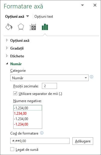 Număr format secțiune în Opțiuni axă