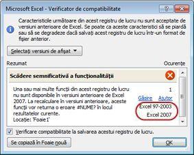 Verificatorul de compatibilitate cu versiuni evidențiate