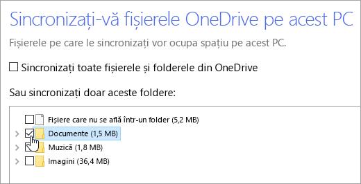 """Captură de ecran a casetei de dialog """"Sincronizați-vă fișierele OneDrive pe acest PC""""."""