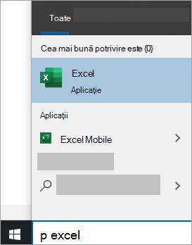 Captură de ecran cu căutarea unei aplicații în căutarea în Windows 10