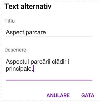 Adăugarea textului alternativ la imagini în OneNote pentru Android