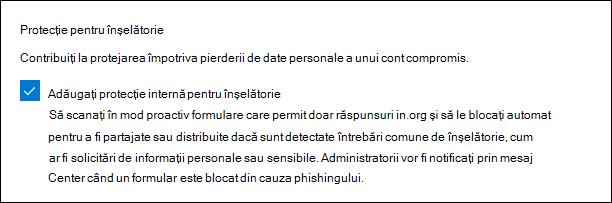 Setarea de administrare Microsoft Forms pentru protecția phishing