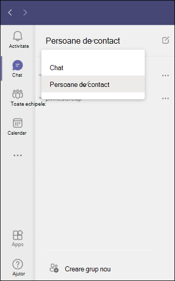 Teams nou grup de persoane de contact în chat