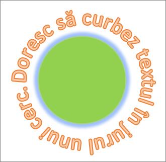 Text curbat în jurul unei forme de cerc