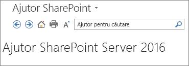 Ajutor SharePoint 2016 panoul antet