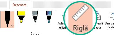 Simbolul riglă se află pe fila Desenare a panglicii în PowerPoint 2016.