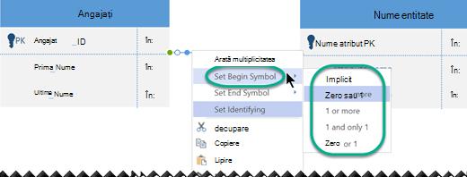 Faceți clic cu butonul din dreapta pe linia de relație, selectați setare simbol început, apoi selectați o setare de cardinalitate din listă.