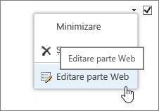 Meniul Editare parte Web evidențiată