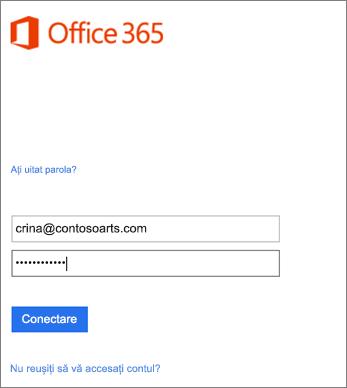 Conectați-vă la contul de organizație din Outlook