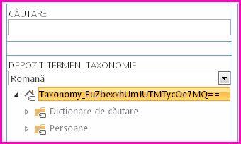 Captură de ecran a vizualizării arborescente din Instrumentul Gestionare depozit de termeni, afișând numele și taxonomia și folderele fiu.