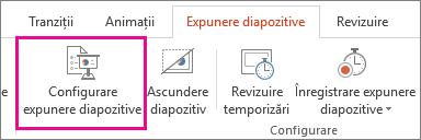 Butonul Configurare expunere diapozitive