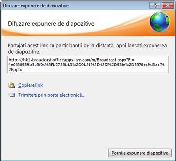 Caseta de dialog Difuzare expunere diapozitive cu un URL pentru expunerea de diapozitive.