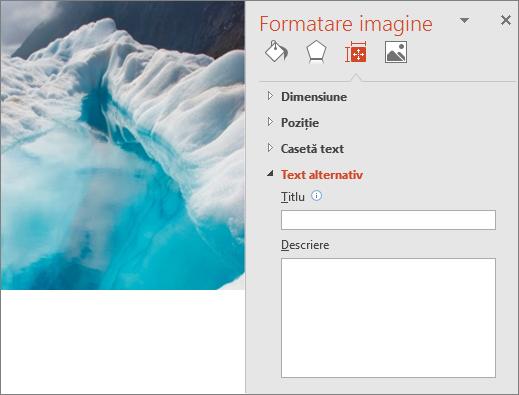 Imagine cu un lac glaciar veche, cu caseta de dialog Formatare imagine indicând că nu există niciun text alternativ în caseta Descriere.